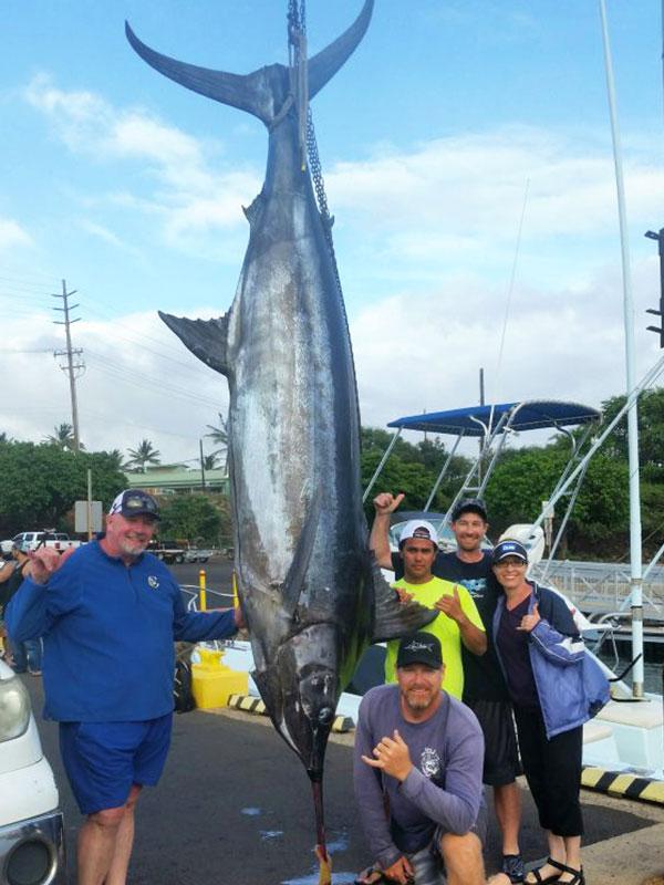 Large Marlin caught on Kauai, Captain J