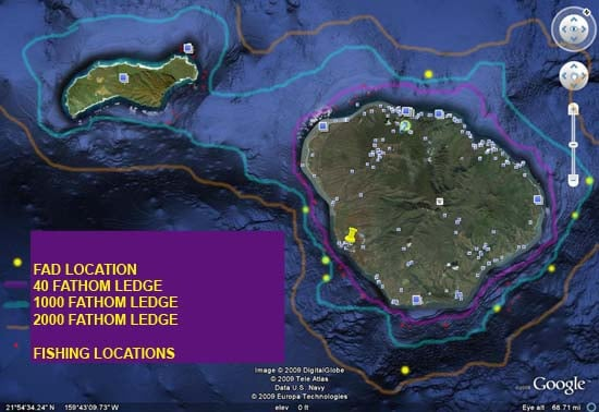 Kauai FAD and ledge locations